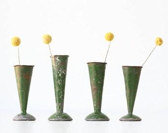Vintage Green Vases, Set of 4, France, stamped SL