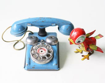 Vintage Toy Phone, Tin Blue Speed Phone, Gong Bell Manufacturing Co