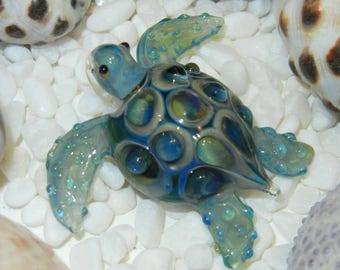Lampwork Boro Glass Pendant - Focal Bead - SEA TURTLE blue