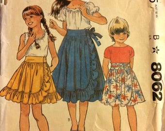 Girl's Sewing Pattern McCall's 8062 Front Wrap Skirts Size 8-10 Uncut  Complete