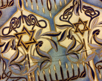 "Judaic Fabric Gold Stars of David and Menorahs on Blue by Alexander Henry ""Mitzvah Meets Mackintosh"" Half Yard 18"" x 44"""