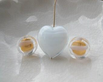 3 Murano Glass Heart Beads