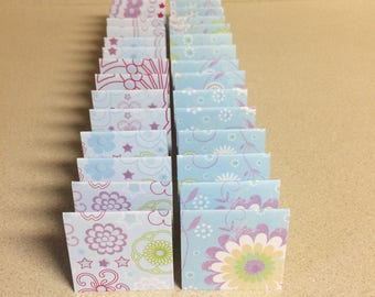 Mini Cards 32 floral mix 2 x 2 - blank for thank you notes