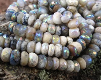 7mm Mystic Creamy Dendritic Opal beads Faceted Rondelles semiprecious gemstones - 6 1/2 inches
