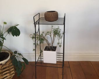 Vintage Metal Stand,  Black Metal Two Shelf Stand perfect for plants and pottery. Simple modern look.