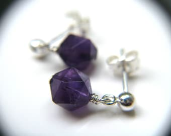 February Birthstone Earrings . Purple Amethyst Earrings . Teardrop Dangle Post Earrings Sterling Silver - English Garden Collection