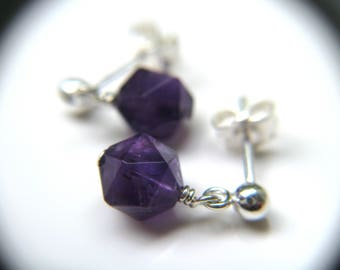 February Birthstone Earrings . Purple Amethyst Earrings . Teardrop Dangle Post Earrings Sterling Silver - English Garden Collection NEW