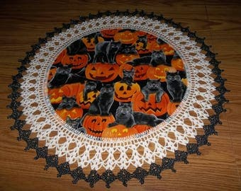 Crochet Doily Halloween Doilies Lace Crocheted Black Cat Doily Pumpkin Fabric Doily Best Doilies Table Topper Doily Handmade  Centerpiece