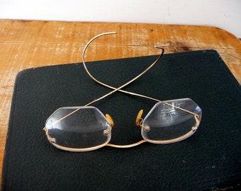 Antique rimless gold filled eyeglasses