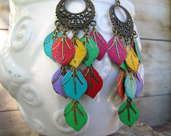 Boho earrings. Colorful earrings. Summer earrings. Leaf earrings, Gypsy Chandelier earrings. Bohemian jewelry