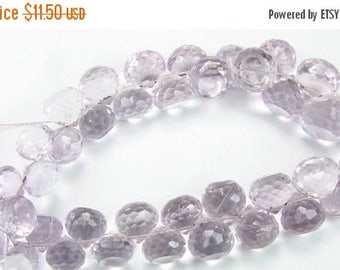 SALE 60% OFF Pink Amethyst Super Sparkly Finest Quality Faceted Onion Candy Kiss Briolette Gems 6mm - 7mm (6 gemstone beads)