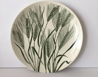 Homer Laughlin Americana Wheat Green Botanical Line Drawing Salad Plate  1950s Mid Century