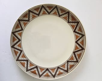 Navajo Royal China USA 11 1/2 Inch Chop Plate Serving Platter Dinnerware Replacement Serving Retro Brown Geometric Design