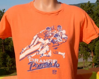 vintage 70s t-shirt denver BRONCOS football orange power tee shirt Large Medium soft thin 1979