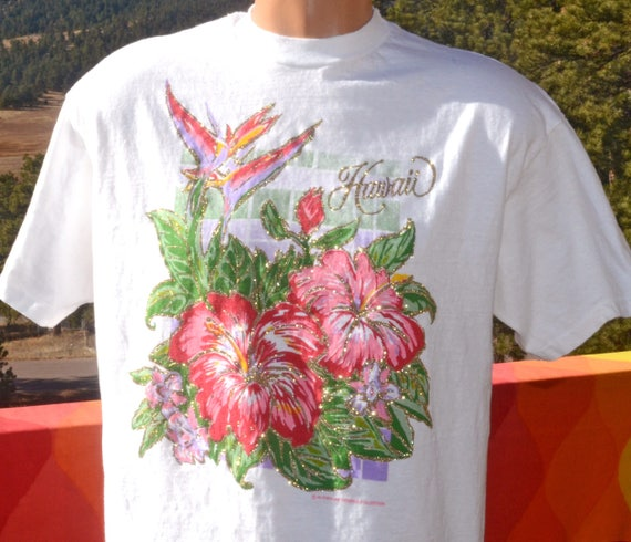 vintage 90s tee HAWAII glitter flower floral tropical t-shirt Large travel