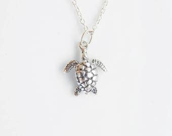 Sterling silver  turtle necklace, animal necklace,