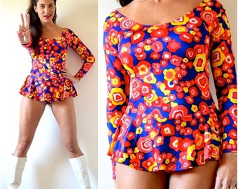 SUMMER SALE/ 30% off Vintage 70s 80s Under the Microscope Psychedelic Floral Skirted Leotard (size small, medium)