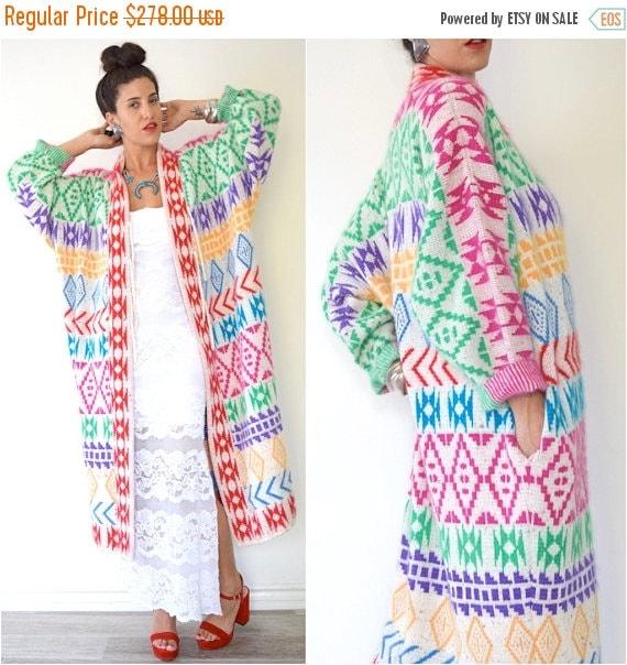 SUMMER SALE/ 30% off Vintage 80s 90s Rainbow Southwestern Knit Sweater Duster