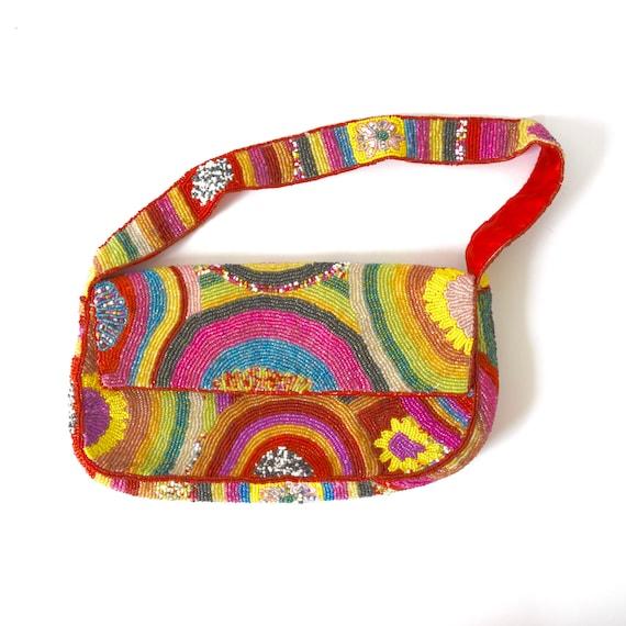 SUMMER SALE/ 30% off Vintage 90s Rainbow Beaded Handbag
