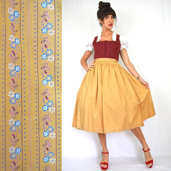 Vintage 50s 60s Honey Calico Floral and Rust Red Dirndl with Matching Apron (size medium)