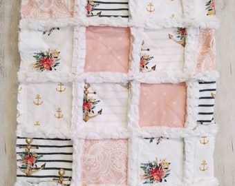 Nautical Floral Rag Quilt