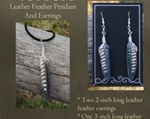 Custom Leather Feather Earrings and Necklace