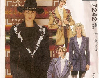 McCalls 7242, Sewing Pattern, Western Jacket, Misses Shawl, Fall Winter, Coat, Sewing Supplies, Sizes 12 14 16, Uncut Pattern, Old West