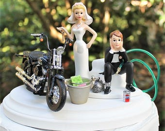 Motorcycle Wedding Cake Topper, Bride and Groom, Harley Davidson Cake Topper-Funny, 2008 Cross Bones, Mechanic-Grooms Cake-Ball and Chain