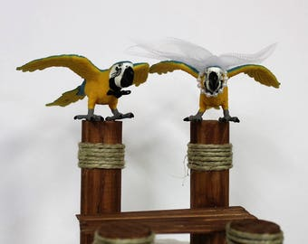 Wedding Cake Topper-Macaw Bird-Boat Dock-Bird-Bride and Groom-Mr and Mrs-Dock-Destination Wedding-Animal Cake Topper