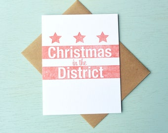 DC Flag Letterpress Holiday Card - Christmas in the District - LLH-403