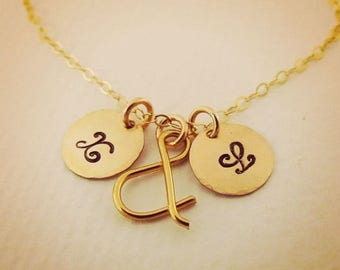 ON SALE Gold Fill Initial Necklace Personalized Necklace Jewelry Gift Couples Necklace Bridal Jewelry Ampersand Necklace Friendship Necklace