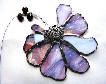 Stained Glass Flower Suncatcher - Suzanna - Pink and Purple with Heart Centerpiece