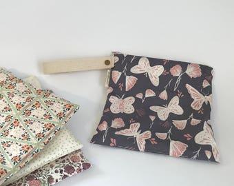 Small Leak Proof Organic Cotton Wet Bag in Butterfly Dusk