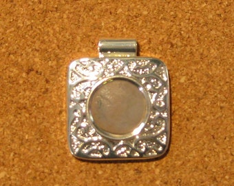 Silver Plated Pendant Setting - Jewelry Setting - Jewelry Supply - Pendant Setting - Square Pendant Setting - Settings for Polymer Clay