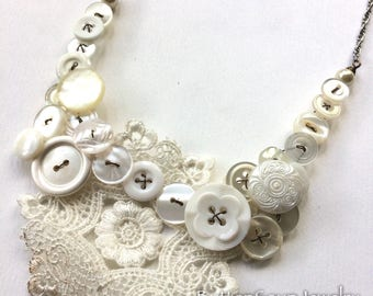 Something Old Something New Vintage Button Statement Bib Necklace in White and Pearl with Lace