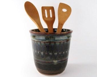Kitchen Utensil Holder - Wine chiller - Kitchen Crock - Earthtones - Handmade wheel thrown pottery