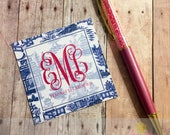 Navy Chinoiserie Enclosure Cards qty 24 {Monogrammed/Personalized}