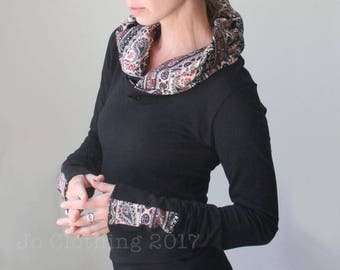 extra long sleeved hooded top/Black with Paisley/womens hoodie