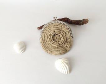 Beige Camel Wallet, Flower Pouch Crocheted Purse Hands