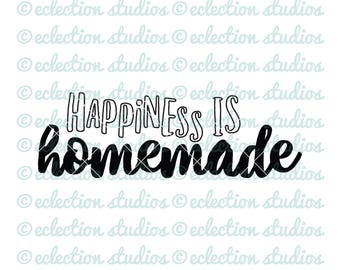 Sign SVG, Happiness Is Homemade, kitchen decor, crafts, wood sign art SVG, DXF, eps, jpg, png file for silhouette/cricut die cutting machine