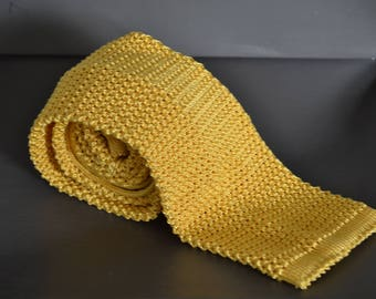 Turnbull & Asser yellow knit tie silk knitted tie square