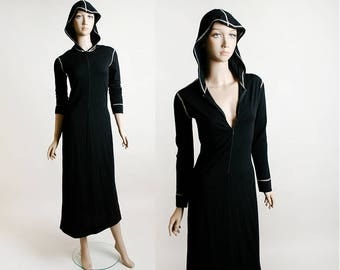 Vintage Hooded Dress - 1970s Black Cotton Jersey Front Zip Hood Maxi Dress - Welcomme Pierron French Dress - Small