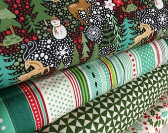 Berry Merry fabric, Christmas Fabric Bundle of 4, Holiday Quilt, Christmas Gift, Modern Quilting- Choose the cuts