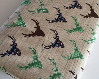 Outdoors fabric, Hike Camp Fish Hunt, Boy Room Decor, Baby Quilt, Tree Arrow, Blue Brown, Outdoors Deer in Tan - Choose the cut