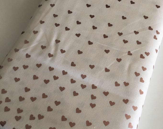 Rose Gold Fabric, Heart Fabric, Metallic Fabric, Gift for Her, Fabric by the Yard, Yes Please Hearts in White Rose Gold - Choose the cut