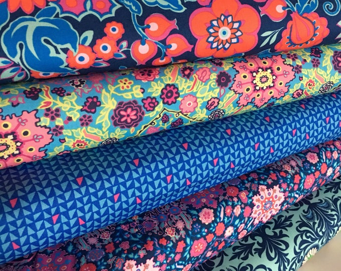 Amy Butler Soul Mate Fabric Bundle of 5, Quilting fabric, Floral Decor, Bright fun fabric, Modern quilt - Choose the cuts