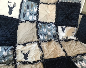 Custom Rustic Woodland Arrows Deer Antlers Navy Cream & Smokey Blue Baby Travel Rag Quilt Photo Prop Bedding MADE TO ORDER