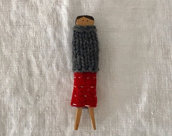 Autumn Holiday Clothes Peg Doll No. 3 Decor Handmade Holiday Gift Kantha Wool