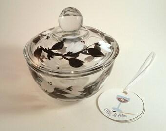 Black and White Vine Pattern Glass Sugar Bowl