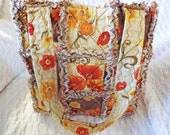 Rag Quilt Tote - Brown, Orange, Red, Yellow - Brown Rag Quilt Tote - Mother's Day Gift - Gift for Her - Brown Floral Tote